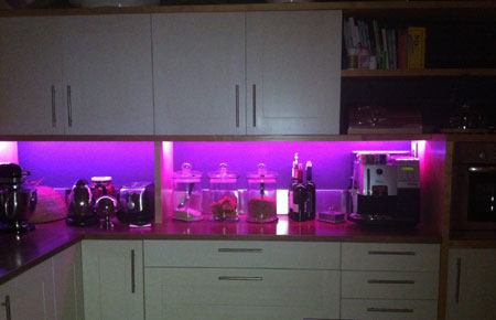 Home dzine kitchen led strip lights for a kitchen coloured colourful led lighting strips in kitchen lumi aloadofball Image collections